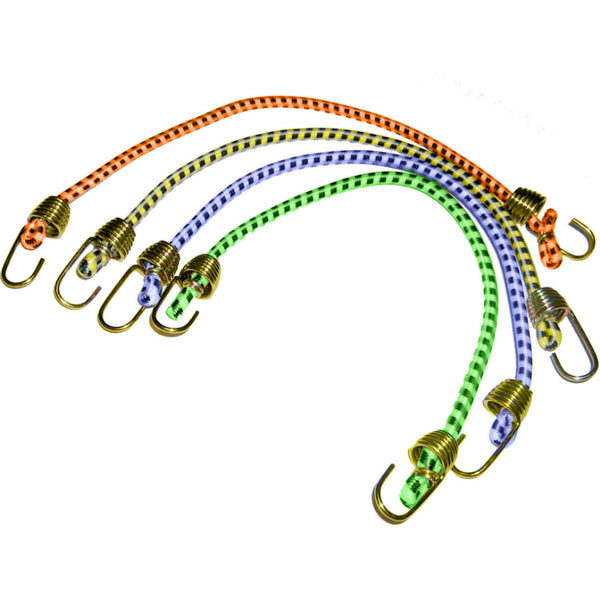 "Keeper® 06051 Mini Bungee Cord with Steel Hook, 10"", 4-Pack"