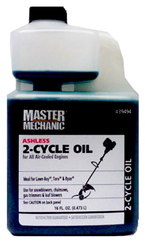 Master Mechanic 144749 Ashless 2-Cycle Oil with Fuel Stabilizer, 16 Oz