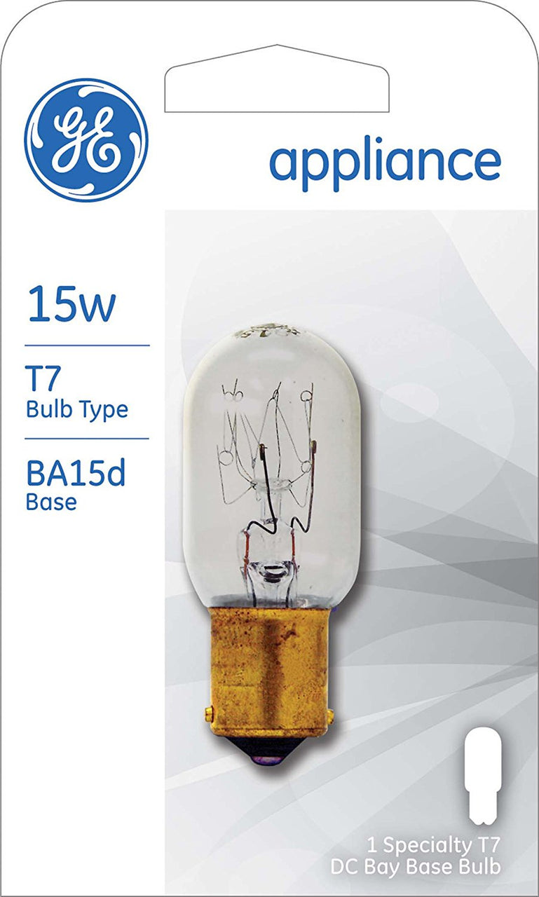 GE 35154 Double Contact Bayonet Base T7 Appliance Light Bulb, Clear, 15W, 120V