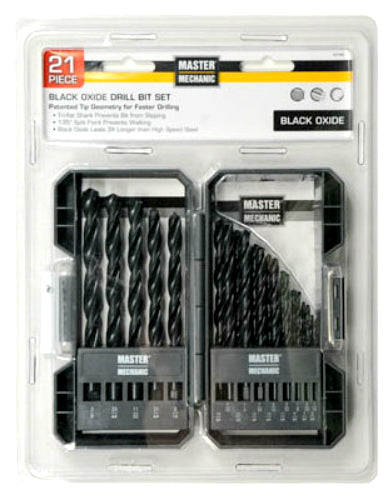 Master Mechanic 441496 Black Oxide Drill Bit Set, 21-Piece