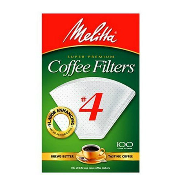Melitta® 624102 Super Premium Cone Coffee Filters, White, #4, 100-Pack