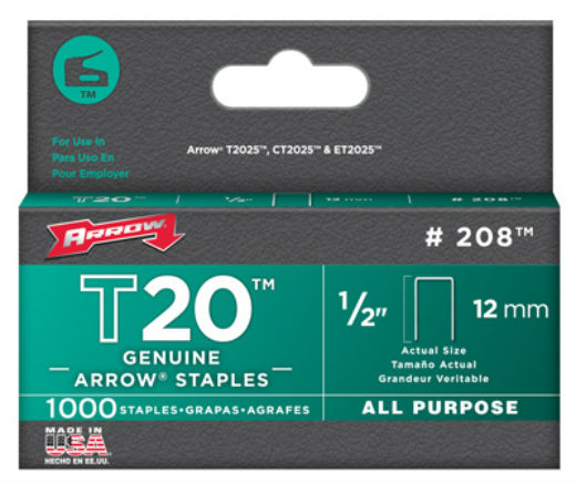 Arrow Fastener 208 T-20 Staple for T-2025 Multipurpose Tacker, 1/2""