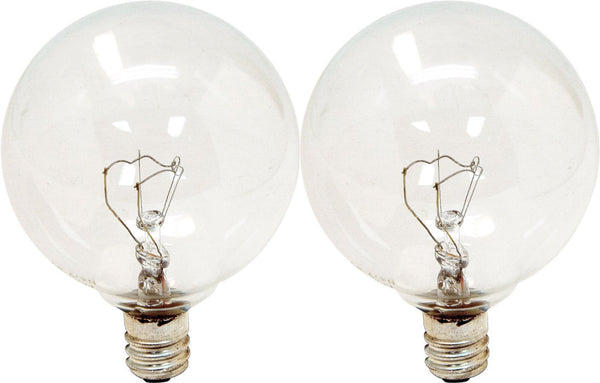 GE Lighting 17722 Candelabra Base G16.5  Globe Bulb, 25W, Crystal Clear, 2-Pack