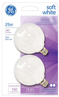 GE Lighting 44412 Candelabra Base G16.5 Globe Light Bulb, Soft White, 25W, 2-Pack