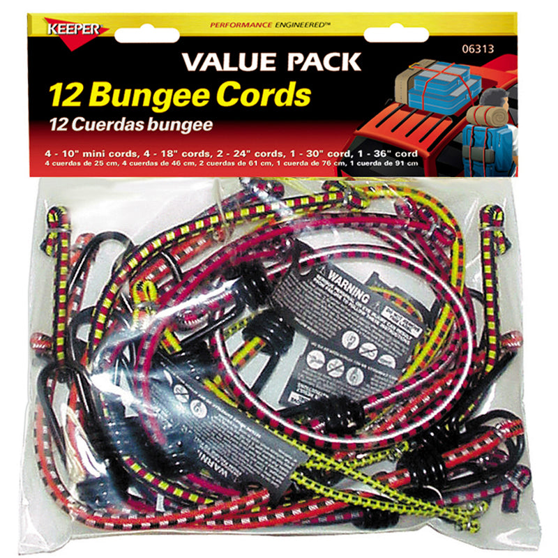 Keeper® 06313 Vinyl Coated Bungee Cord Value Pack, Assorted Sizes, 12-Pieces
