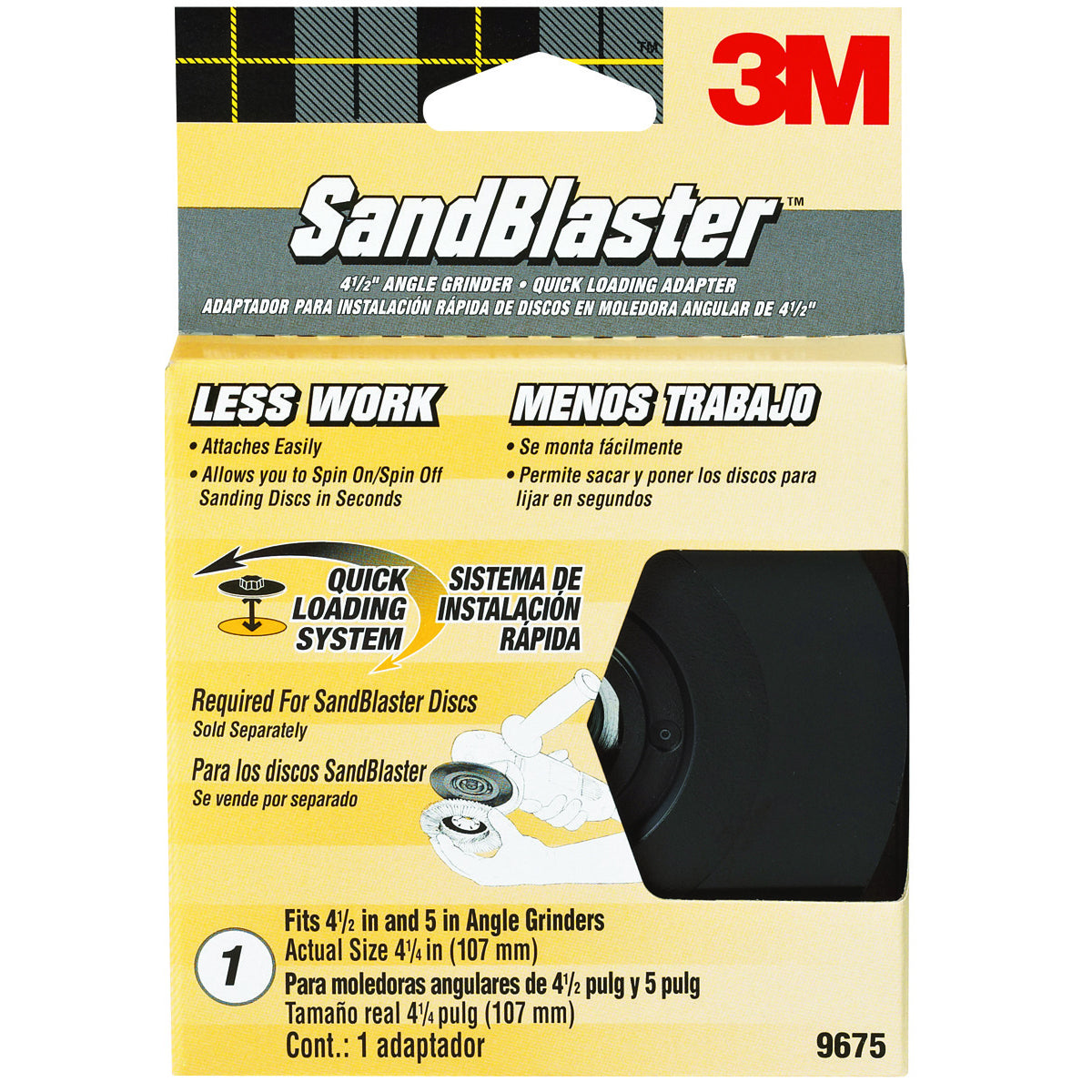 3M 9675 SandBlaster Quick Change Hub Adapter for Right Angle Grinder, 4.5""