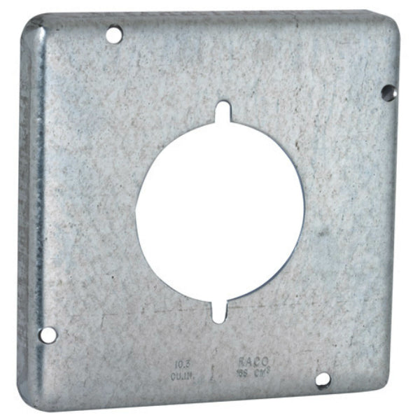 "RACO® 878 Single Receptacle Exposed Work Box Cover, Steel, 4-11/16"" Square"