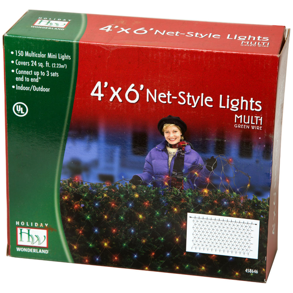 Holiday Wonderland 48951-88 Christmas Net-Style 150-Light Set, 4' x 6', Multi