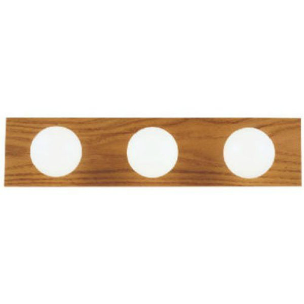Westinghouse 66442 Three-Light Interior Bath Bar, Solid Oak with Polished Brass