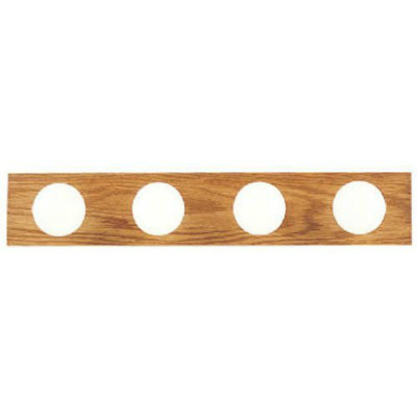 Westinghouse 66443 Four-Light Interior Bath Bar, Solid Oak with Polished Brass