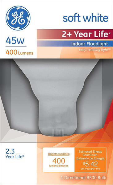 GE Lighting 26804 Reflector R30 Indoor Floodlight Bulb, Soft White, 45W