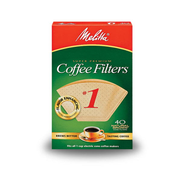 Melitta® 620122 Cone Coffee Filter, #1, Natural Brown, 40-Pack