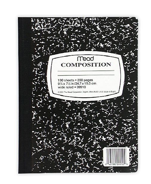 "Mead® 09910 Black Marble Composition Book, 7-1/2"" x 9-3/4"", 100-Count"