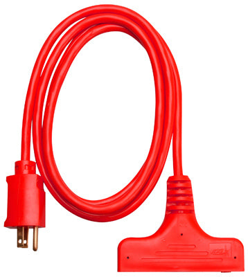 Master Electrician 04004ME Red 3-Outlet Extension Cord 6', 14/3 SJTW, 15A, 125V