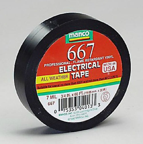 "Duck 667 Professional Electrical Tape, 3/4"" x 66', Black"