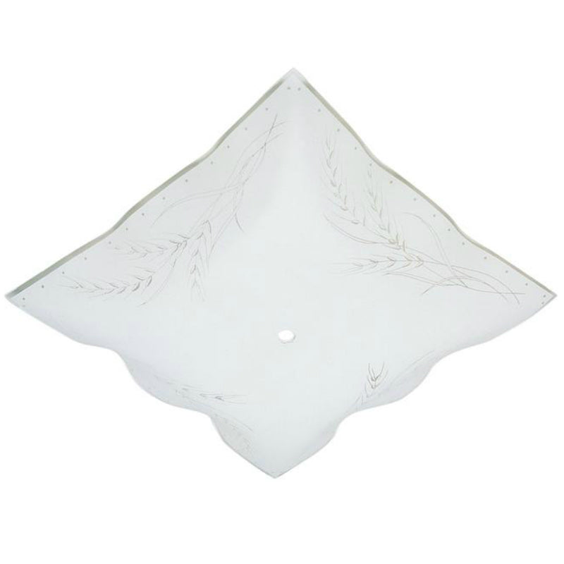 Westinghouse 81800 Clear Wheat Design on White Ruffled Edge Glass Diffuser, 12""