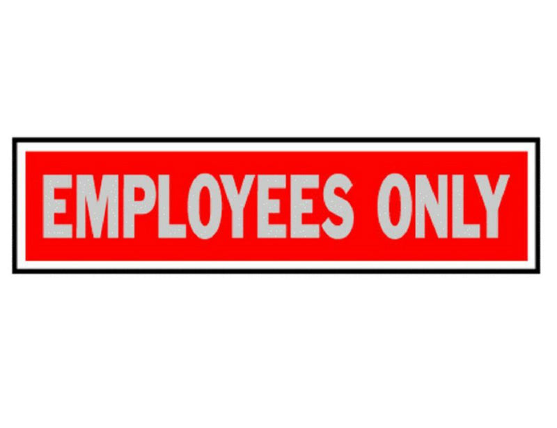 "Hy-Ko 409 Employees Only Sign, 2"" x 8"", Red Background, Brushed Aluminum"