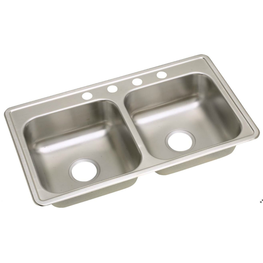 Elkay® NS233194 Neptune Stainless Steel Double Bowl Top Mount Kitchen Sink, Satin