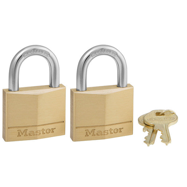"Master Lock 140T Keyed Alike Solid Brass Padlock, 1-9/16"", 2-Pack"