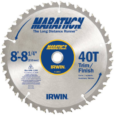 "Irwin Tools 14053 Carbide Tipped Marathon® Circular Saw Blade, 8-1/4"", 40T"