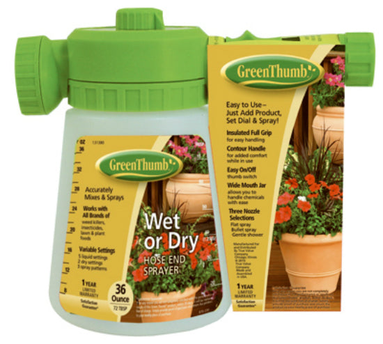 Green Thumb 2204GT Pre-Mix Hose End Sprayer, 2-Dry Settings