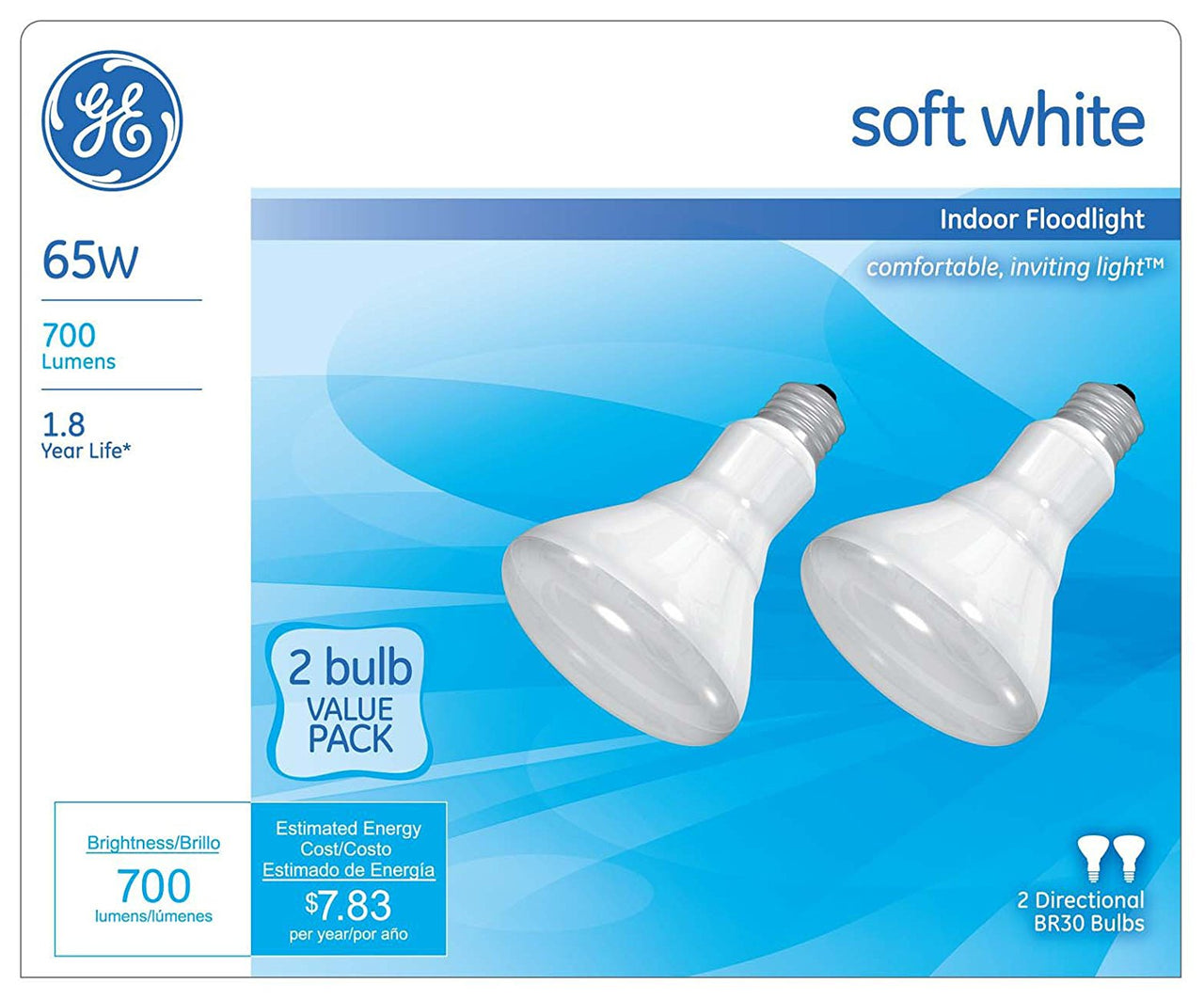 GE Lighting 44488 Indoor Reflector R30 Floodlight Bulb 65W, Soft White, 2-Pack