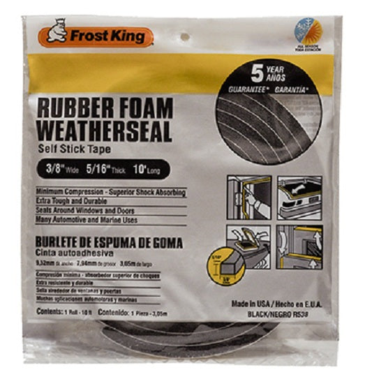 "Frost King R538H Rubber Foam Weather-Strip Tape, 3/8"" x 5/16"", Black"