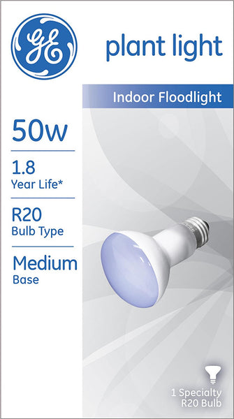 GE Lighting 14888 Incandescent Medium Base R20 Reflector Plant Light Bulb, 50W