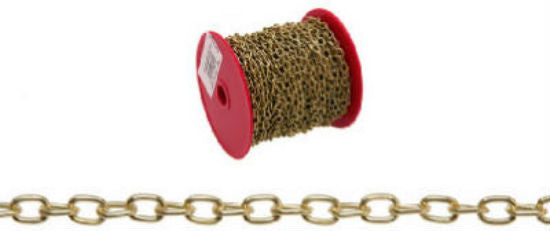 Campbell® 0711917 Hobby/Craft Oval Link Chain, 82', Brass Plated