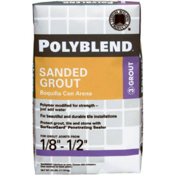 Polyblend® PBG16525 Sanded Tile Grout, #165 Delorean Gray, 25 Lbs