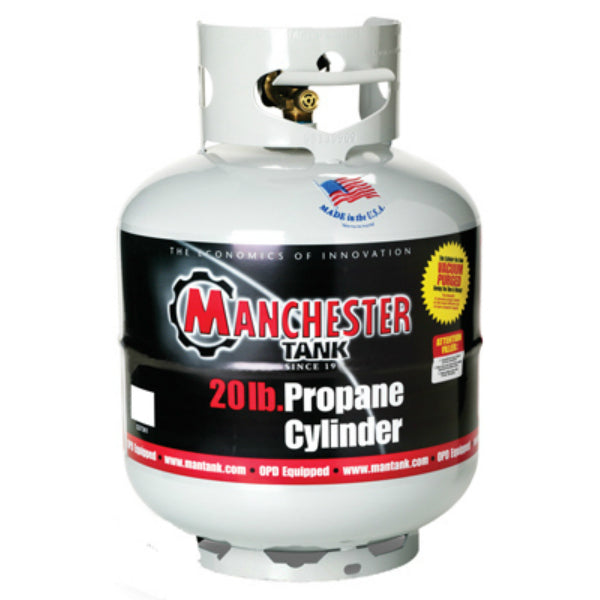Manchester Tank 10504 Vertical ACME/OPD Propane Gas Cylinder, Gray, 20 Lb