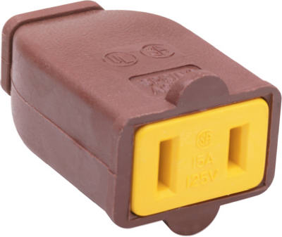 Pass & Seymour Straight Blade Connector, 15A, 125V, Brown