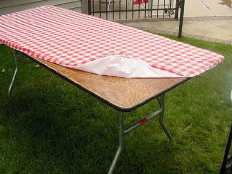 "Kwik-Cover® 3096PKRW Tablecover with Elastic Edging, Red/White Gingham, 30""x96"""