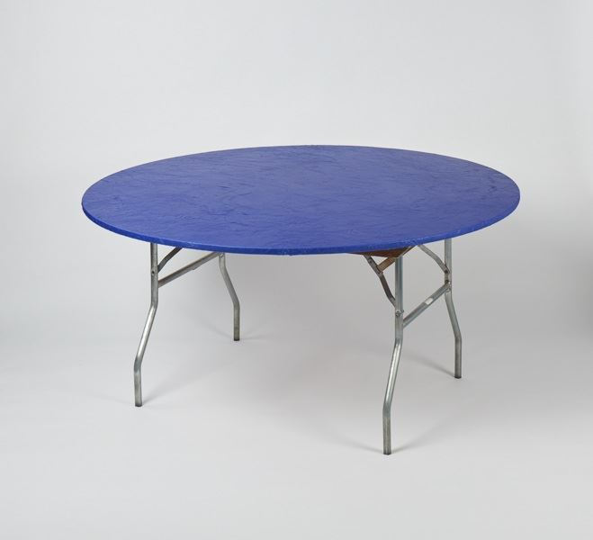 Kwik-Covers® 60PKB Round Plastic Table Cover with Elastic Edging, Blue, 60""