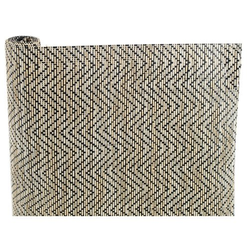 "Magic Cover 04F-127658-06 Non-Adhesive Liner, 12""x4',Natural Weave Zig Zag Black"