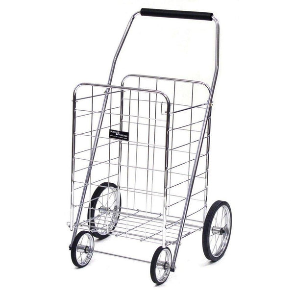 Easy Wheels NTC001CH Jumbo 4-Wheel Folding Shopping Cart, Chrome, Hold 150 Lb