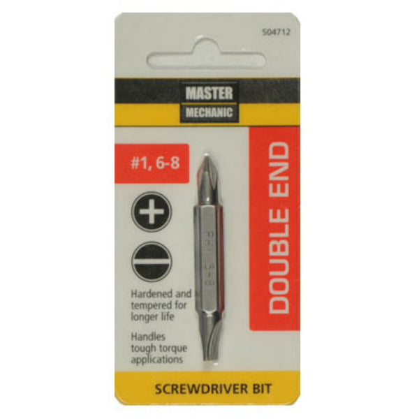 Master Mechanic 504712 Double-End Phillips Screwdriver Bit, #1/6-8 Slotted