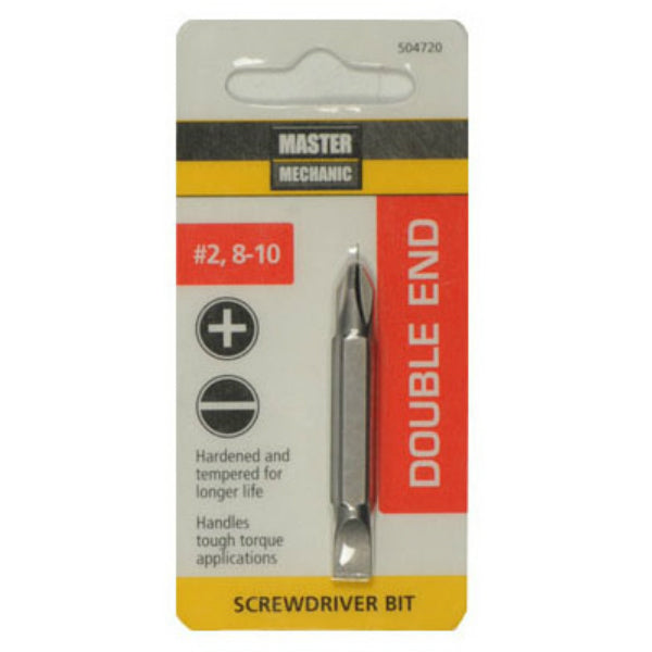 Master Mechanic 504720 Double-End Phillips Screwdriver Bit, #2/8-10 Slotted
