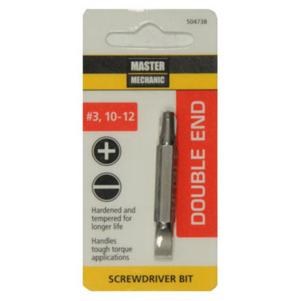 Master Mechanic 504738 Double-End Phillips Screwdriver Bit, #3/10-12 Slotted