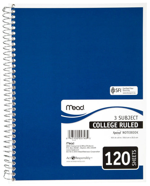 "Mead® 05748 College Ruled Spiral® Notebook, White Paper, 10.5"" x 7-1/2"", 120-Ct"