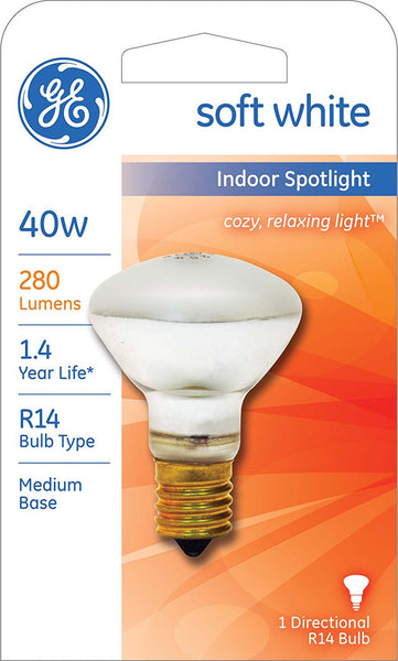 GE 25776 Indoor Spotlight R14 Directional Bulb w/Medium Base, Soft White, 40W