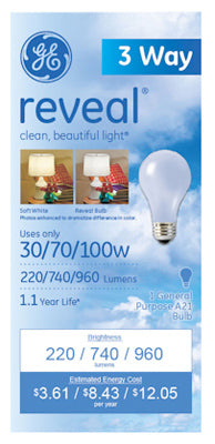 GE Lighting 97784 Reveal® 3-Way Incandescent A21 Bulb, Soft White, 30/70/100W