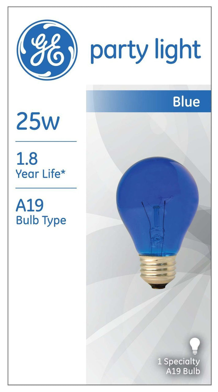GE Lighting 49724 Medium Base Incandescent A19 Party Light Bulb, Blue, 25W