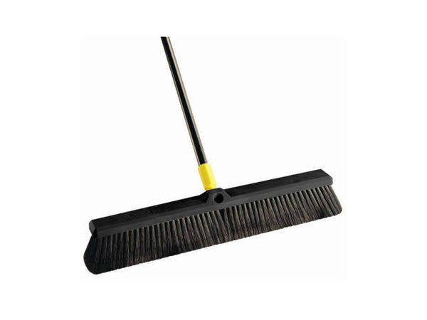 "Quickie® BULLDOZER® 00533 Smooth Surface Pushbroom 24"", 60"" Steel Handle"
