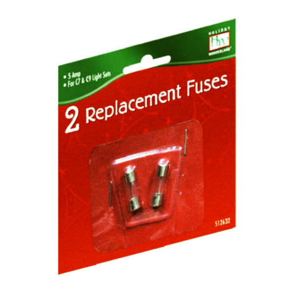 Holiday Wonderland® 1015-88 Christmas C7 & C9 Light Replacement Fuses, 5A, 2-Pk
