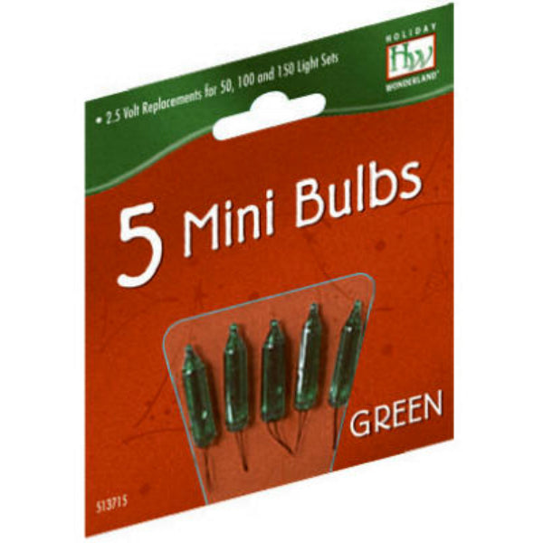 Holiday Wonderland 1115-7-88 Christmas Replacement Mini Bulbs, Green, 5-Pack