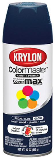 Krylon® K05190102 ColorMaster™ Spray Enamel Paint & Primer, 12 Oz, Regal Blue