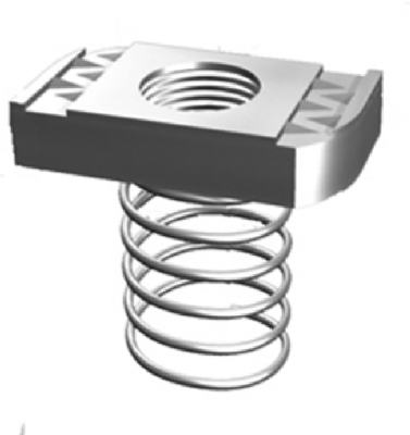 "Superstrut Steel Spring Nut With SilverGalv Finish 3/8"", 5-Pack"