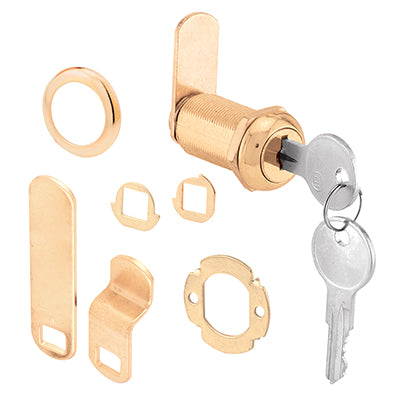 "Slide-Co U-9953 Stainless Steel Face Drawer/Cabinet Lock, 1-3/8"", Brass Finish"