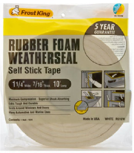 "Frost King R516WH High Density Foam Tape, 1-1/4"" x 7/16"" x 10', White"